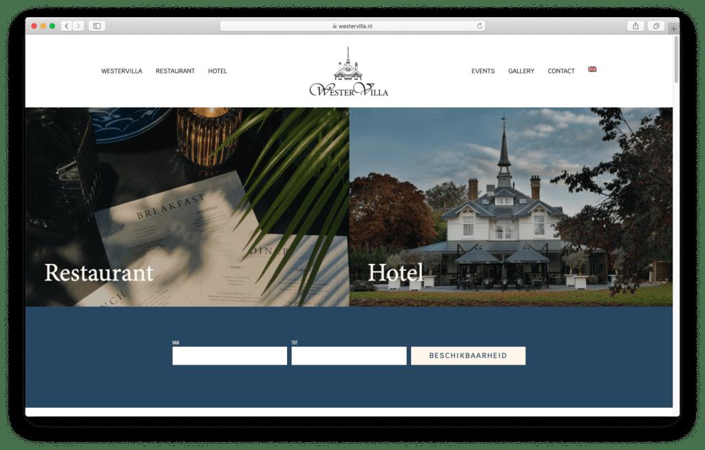 Website voor hotel en restaurant